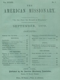 Cover of The American Missionary — Volume 33, No. 09, September, 1879
