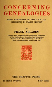 Cover of Concerning Genealogies Being Suggestions of Value for All Interested in Family History