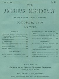 Cover of The American Missionary — Volume 33, No. 10, October, 1879