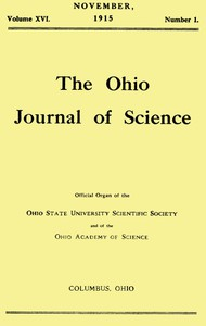 Cover of The Ohio Journal of Science, Vol. XVI, No. 1, November 1915
