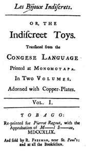 Cover of Les Bijoux Indiscrets, or, The Indiscreet Toys