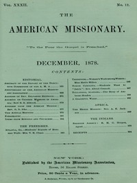 The American Missionary — Volume 32, No. 12, December, 1878
