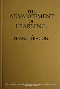 Cover of The Advancement of Learning