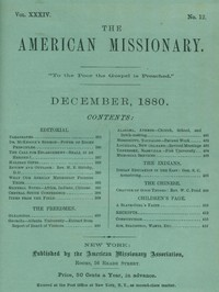 Cover of The American Missionary, Volume 34, No. 12, December 1880