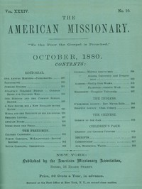 Cover of The American Missionary — Volume 34, No. 10, October, 1880