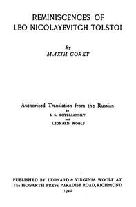 Cover of Reminiscences of Leo Nicolayevitch Tolstoi