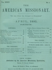 Cover of The American Missionary — Volume 35, No. 4, April, 1881