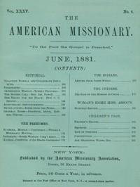 Cover of The American Missionary — Volume 35, No. 6, June, 1881