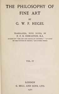 Cover of The Philosophy of Fine Art, volume 4 (of 4)Hegel's Aesthetik