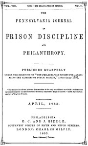 Cover of The Pennsylvania Journal of Prison Discipline and Philanthropy, April 1853