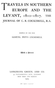 Cover of Travels in Southern Europe and the Levant, 1810-1817The Journal of C. R. Cockerell, R.A.