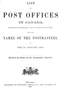 Cover of List of Post Offices in Canada, with the Names of the Postmasters ... 1866