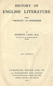 """Cover of History of English Literature from """"Beowulf"""" to Swinburne"""