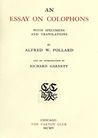 Cover of An Essay on Colophons, with Specimens and Translations