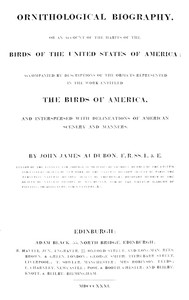 Cover of Ornithological Biography, Volume 1 (of 5)An Account of the Habits of the Birds of the United States of America