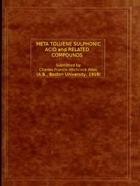 Meta Toluene Sulphonic Acid and Related Compounds