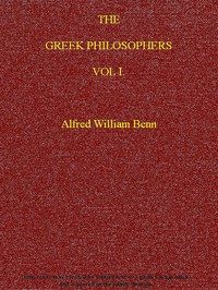 Cover of The Greek Philosophers, Vol. 1 (of 2)