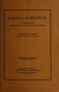 A Manual of Bird StudyA Description of Twenty-Five Local Birds with Study Options