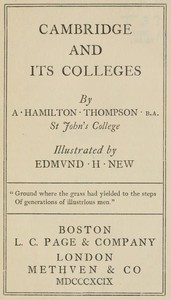 Cover of Cambridge and Its Colleges