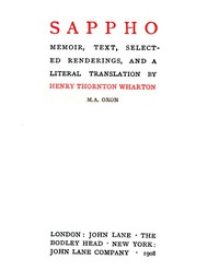 Sappho: Memoir, text, selected renderings, and a literal translation