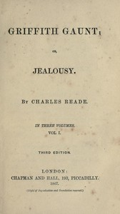 Cover of Griffith Gaunt; or, JealousyVolumes 1 to 3 (of 3)