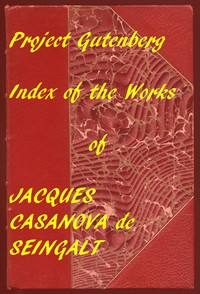 Cover of Index of the Project Gutenberg Memoirs of Casanova