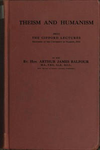 Cover of Theism and HumanismBeing the Gifford Lectures Delivered at the University of Glasgow, 1914