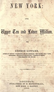 Cover of New York: Its Upper Ten and Lower Million