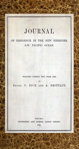 Journal of Residence in the New Hebrides, S.W. Pacific Ocean