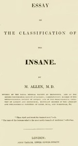 Cover of Essay on the Classification of the Insane