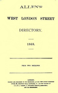 Cover of Allen's West London Street Directory, 1868
