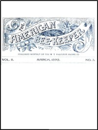 Cover of The American Bee-Keeper, Vol. II, Number 3, March, 1892