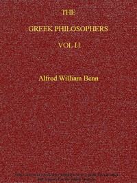 Cover of The Greek Philosophers, Vol. 2 (of 2)