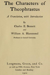 Cover of The Characters of TheophrastusA Translation, with Introduction
