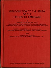 Cover of Introduction to the study of the history of language