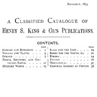 A Classified Catalogue of Henry S. King & Co.'s Publications, November, 1873