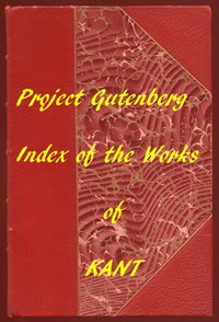 Cover of Index of the Project Gutenberg Works of Immanuel Kant
