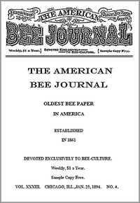 Cover of The American Bee Journal, Volume XXXIII, No. 4, January 25, 1894