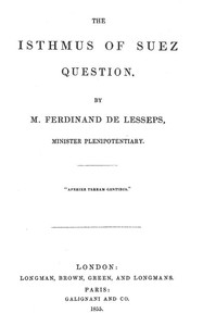 Cover of The Isthmus of Suez Question