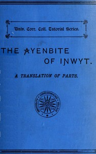 Cover of The Ayenbite of Inwyt (Remorse of Conscience) A Translation of Parts into Modern English