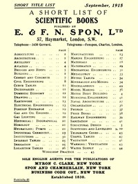 A Short List of Scientific Books Published by E. & F. N. Spon, Ltd. September 1915