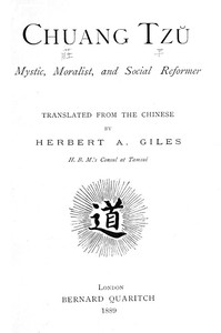 Cover of Chuang Tzu: Mystic, Moralist, and Social Reformer