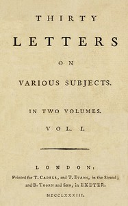 Thirty Letters on Various Subjects, Vol. 1 (of 2)
