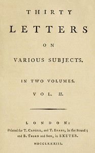 Cover of Thirty Letters on Various Subjects, Vol. 2 (of 2)