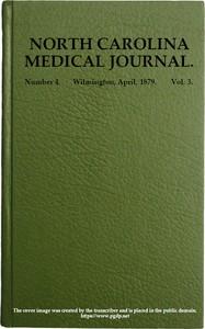 Cover of North Carolina Medical Journal. Vol. 3. No. 4. April, 1879