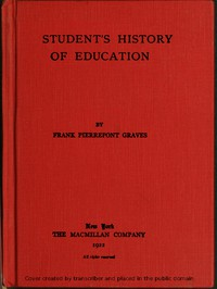 Cover of A student's history of education