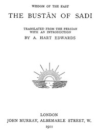 The Bustan of SadiTranslated from the Persian with an introduction