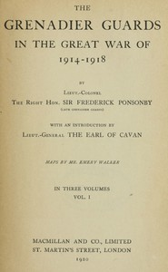 Cover of The Grenadier Guards in the Great War of 1914-1918, Vol. 1 of 3