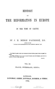 Cover of History of the Reformation in Europe in the time of Calvin. Vol. 3 (of 8)