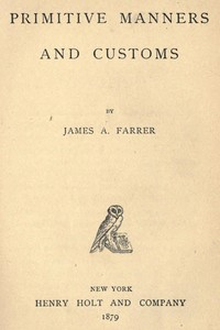 Cover of Primitive Manners and Customs